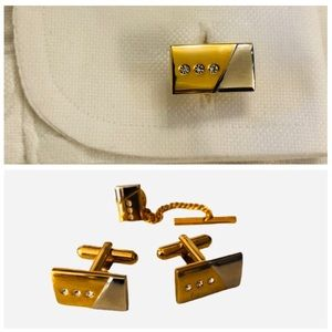 Stacy Adams Two Tone Cuff Links and Tie Tack